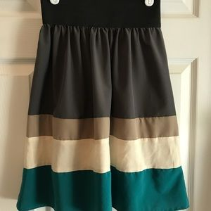 ModCloth gray cream turquoise skirt size small